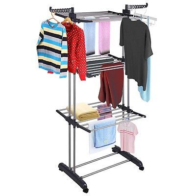 3Tier Stainless Laundry Organizer Folding Drying Rack Clothes Dryer Hanger Stand in Home & Garden, Household Supplies & Cleaning, Laundry Supplies | eBay