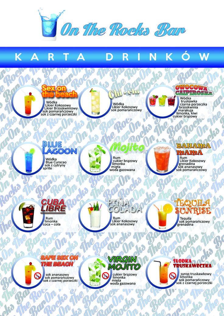 karta drinków na zlecenie On The Rocks Bar