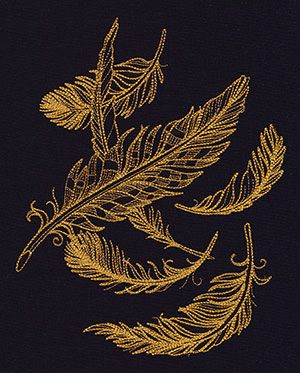 Gilded Feathers design (UT7584) from UrbanThreads.com  This design is lightly stitched and is suitable for all fabrics, including t shirts.