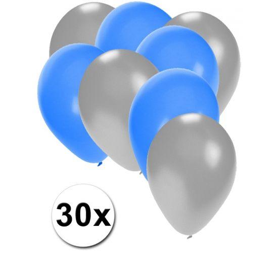Zilveren en blauwe ballonnen 30 stuks  30 stuks ballonnen in de kleuren zilver en blauw. Van elke kleur 15 ballonnen leuk voor verjaardagen en themafeesten. Formaat is ongeveer 27 cm. Goede kwaliteit.  Dit artikel bestaat uit: 1x Zilveren ballonnen 15 stuks 1x Blauwe ballonnen 15 stuks  EUR 2.99  Meer informatie