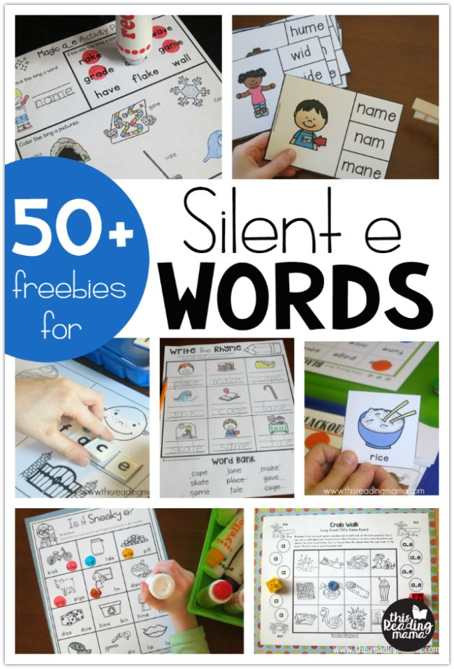 Work on the magic E with all these fun and free worksheets that focus on silent E words!