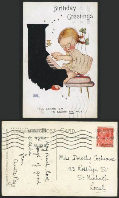 MABEL LUCIE ATTWELL 1925 Old Postcard Grumpy Little Girl Playing PIANO 488 | eBay