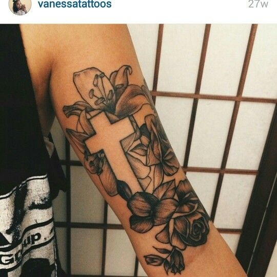 Flower and cross half Sleeve