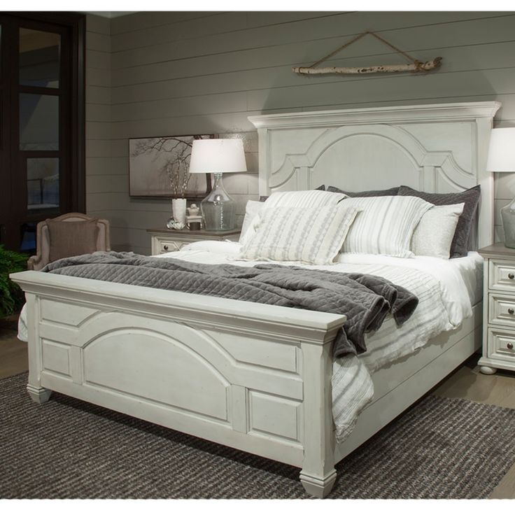 Hancock Park Wood Panel Bed in Vintage White by Magnussen Home