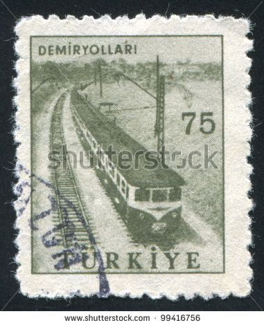 TURKEY - CIRCA 1959: stamp printed by Turkey, shows railway, circa 1959 - stock photo