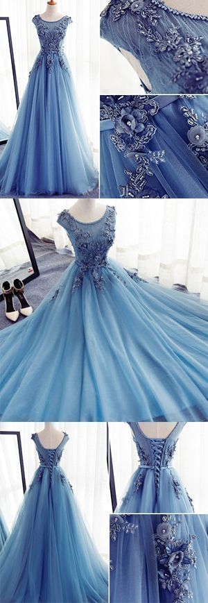 Applikationen A-Linie Ärmellos Ice Blue Tüll Ballkleider Lang, Abendkleider   – Dresses