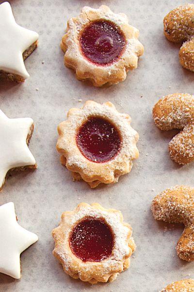 Spitzbuben (Raspberry Jam Sandwich Cookies)   Go ahead...say this one three times fast.  Spitzbuben! Fun to say. Even more fun to fill.  Recipe - Saveur.com