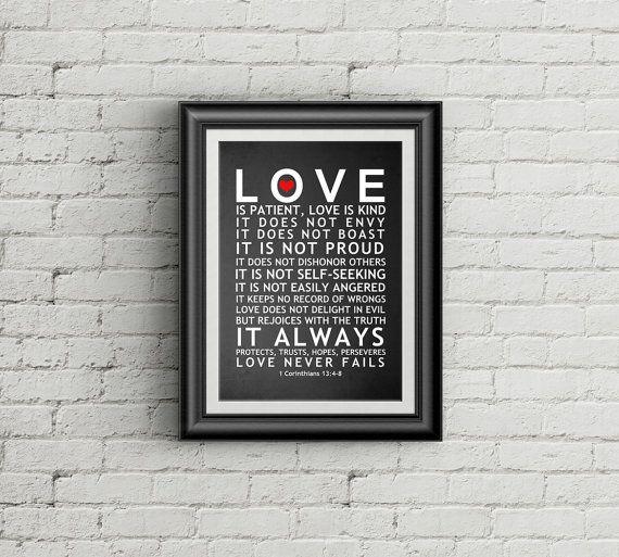Love Is Patient Love Is Kind 1 Corinthians 13 Christian Wall Art Bible Verse Print