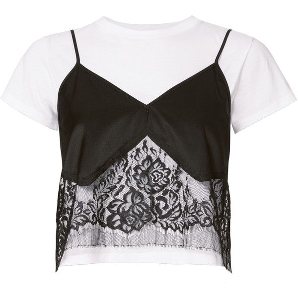 Michelle Mason Lace Camisole Layered Tee (2,925 GTQ) ❤ liked on Polyvore featuring tops, t-shirts, crop top, lace t shirt, short sleeve tee, lace camisole top, layering tees and lace camis