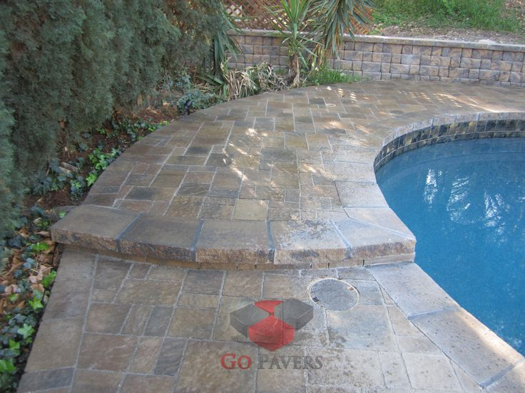 West hills paver pool deck pool coping step walkway for Belgard urbana pavers