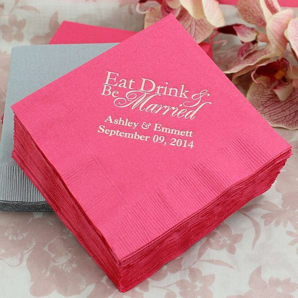 Classic Eat, Drink, and Be Married personalized cocktail napkins are printed with your names and wedding date. Chooose from 27 napkin colors.