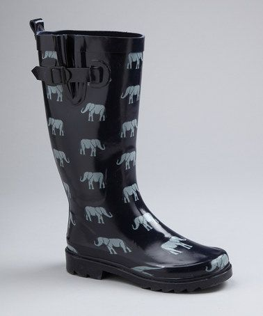 Take a look at this Capelli New York Navy Elephant Parade Rain Boot by Women's Rain Boots Collection on #zulily today!