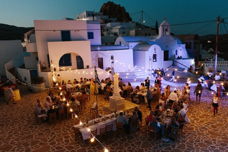 A wedding on Anafi Island | lafete bistro lights, Greek traditional wedding