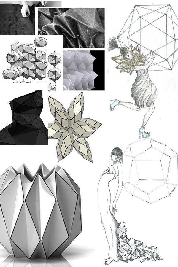 Fashion Portfolio layout - geometric fashion design, fabric manipulation research & sketches