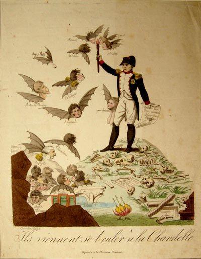 Anonimo, i regnanti europei vengono a bruciarsi alla candela di Napoleone (caricatura dell'epoca)