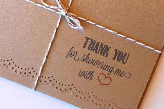 Wedding Bridal Baby Shower Thank You Doily Lace Kraft Note Cards. Wedding Stationery. Stationary. Set of 5