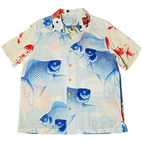 Gold fish crazy pattern Kimono Aloha Shirts. www.kimonoalohashirts.com