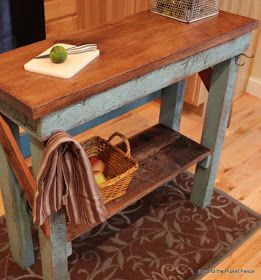 DIY:  How To Make A Wood Island Table - excellent tutorial shows how this was made from reclaimed wood.  http://bec4-beyondthepicketfence.blogspot.com/2013/06/island-tutorial.html