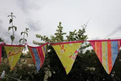 Waterproof garden bunting.