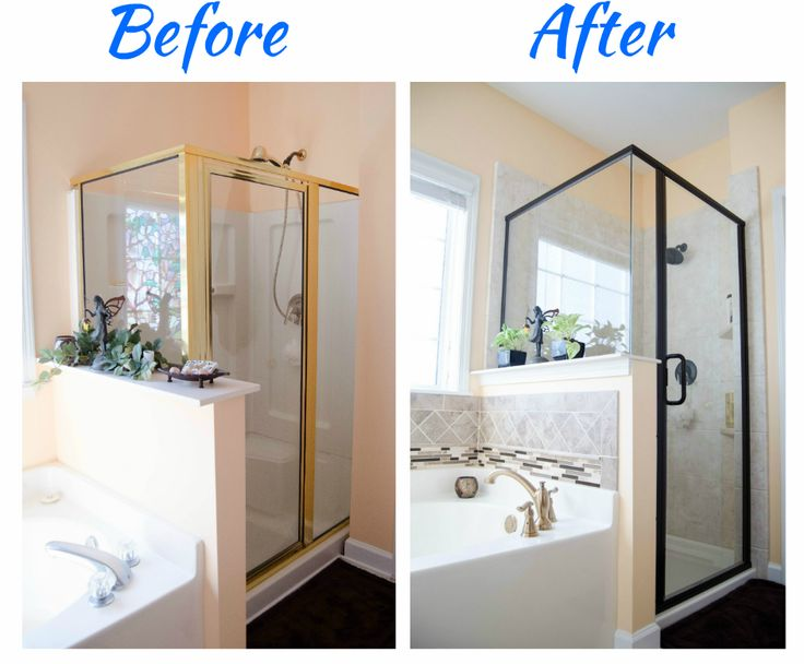 Updated shower - Bathroom Remodel - Glass walk in shower - tile Feature strip - new