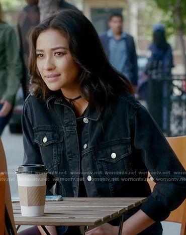Emily's black denim jacket on Pretty Little Liars.  Outfit Details: https://wornontv.net/70462/ #PLL