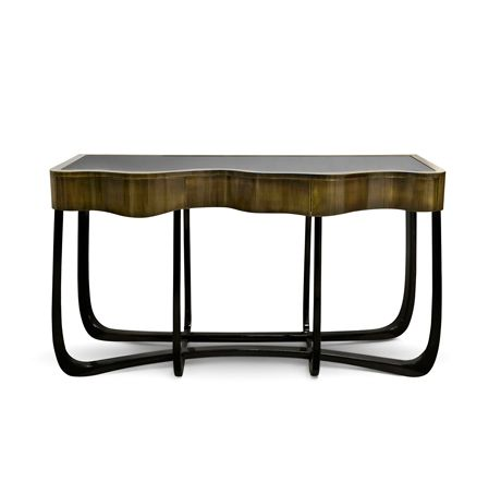 Sinuous Patina Console by Boca do Lobo | Sinuous is a handcrafted design console with a gold lacquered touch. A beautiful piece for a decorating hall and living room. www.bocadolobo.com
