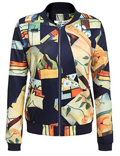Meaneor Women's Bomber Jacket Graffiti Short Zipper Coat With Pocket