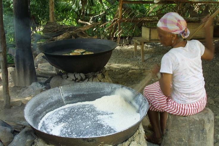 Making Farine And Cassava Bread Culinary Cuisine