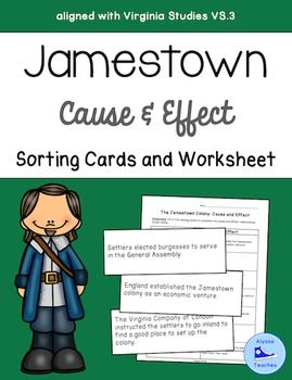 Students will determine cause-and effect relationships related to the establishment of the Jamestown colony (aligned with Virginia Studies VS.1b and VS.3). Use this as a review activity or even as an introduction to the unit.