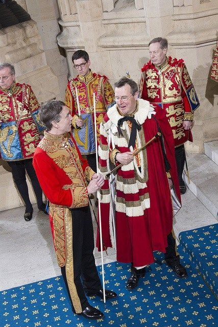 The Lord Great Chamberlain and the Earl Marshal after the Queen has the left State Opening