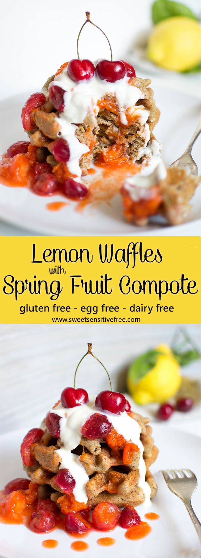 Gluten free vegan lemon waffles topped with a quick and easy Spring fruit compote and some yogurt, a great way to enjoy peaches, apricots and cherries