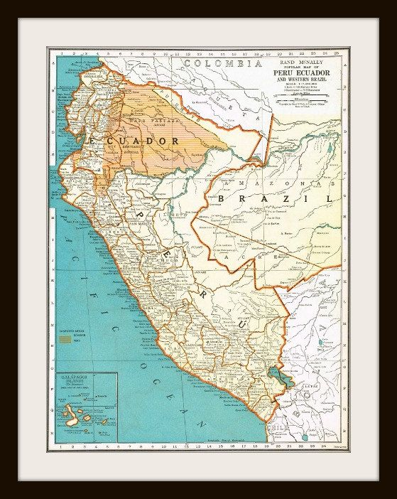 Antique Map  PERU and ECUADOR  1930'S Map Page  by KnickofTime