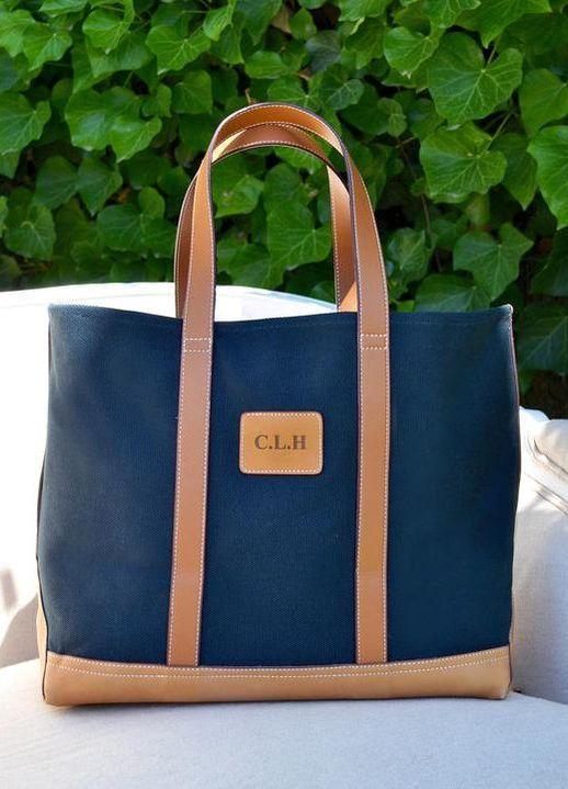 838eded3ebfd Little Makes Big navy canvas monogrammed tote bag