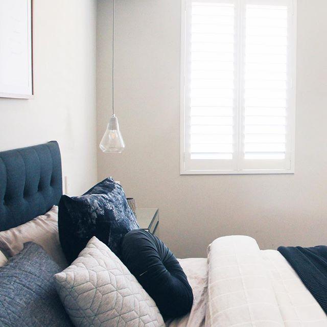 // BEDTIME   / Grey Bedroom / Unisex Master Bedroom / Plantation Shutters / Pendant Lights / Grey Material Headboard / Grey bedroom / Bedroom Inspo