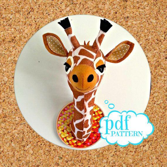 Gladys the Giraffe. Felt faux taxidermy pdf by cupcakecutie1