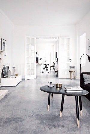 ein wohnzimmer mit industrie charme und beton fu boden noch mehr einrichtungsideen gibt es auf. Black Bedroom Furniture Sets. Home Design Ideas