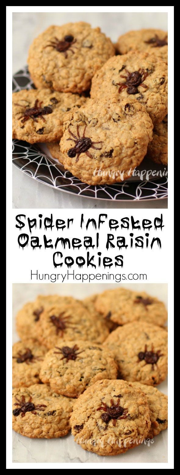 Spider Infested Oatmeal Raisin Cookies - Hungry Happenings