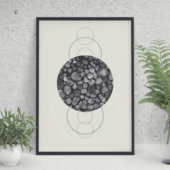 Geometric Print Printable Art Black and White by KYLprintable