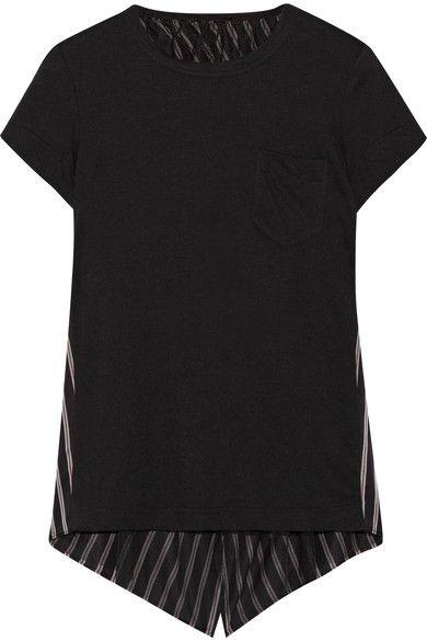 Sacai - Asymmetric Linen-blend Jersey And Striped Satin-twill Top - Black -