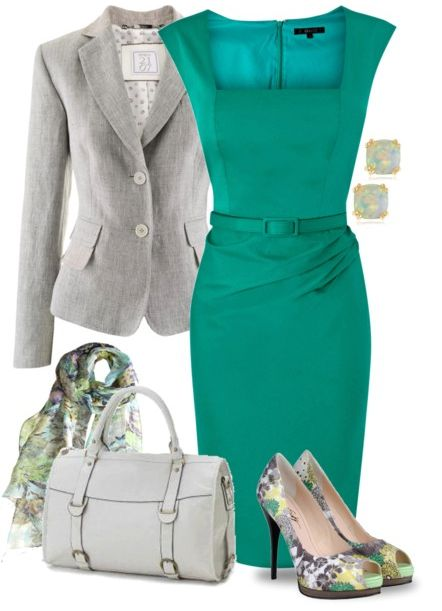 combination of clothes fashion accessorize clothes aquamarine dress gray jacket http://www.womans-heaven.com/aquamarine-dress-with-gray-jacket-and-accessories-combination/