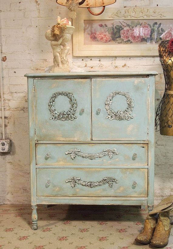 Painted Cottage Chic Shabby Aqua Romantic by paintedcottages, $295.00
