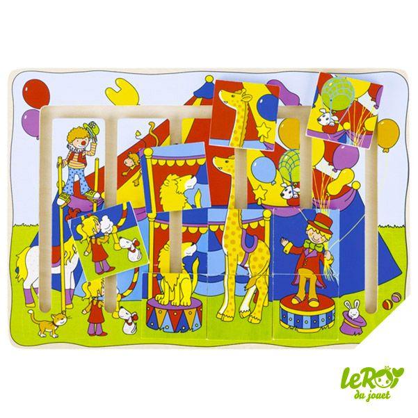 Puzzle à pousser Spectacle de cirque en bois, girafe, clown, cheval, lion, dresseur, ballon Leroy du jouet
