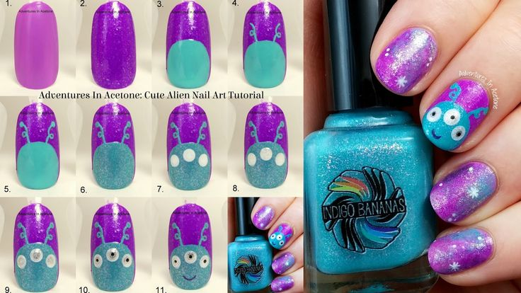 Tutorial Tuesday: Cute Alien Nail Art! by Adventures in Acetone
