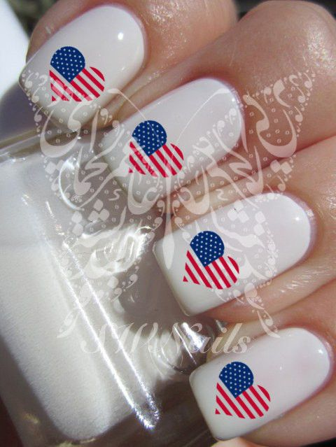 Nail Art USA Heart Love I Love USA Nail Water Decals Transfers Wraps