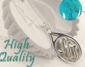 3 golven goud & Turquoise H20 Just Add Water medaillon HALSKETTING zoals H2O zeemeerminnen Sterling Zilver 925