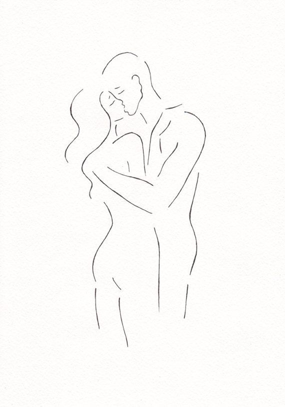 Original line drawing. Minimalist kiss sketch. Bla…
