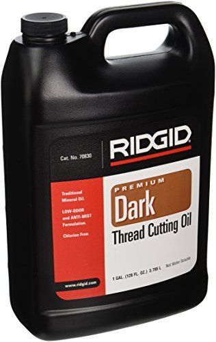 RIDGID 70830 Dark Thread Cutting Oil, 1 Gallon of Dark Pipe Threading Oil  Dark is a low odor, anti-mist formulation thread oil  0 degree Fahrenheit working viscosity of 42.5 mm2/s and relative density of 0.878  Improves thread quality producing the best possible results  Reduces threading torque  Cools threads and pipe during operation and speeds scrap metal removal