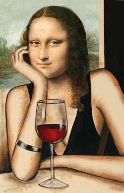 Un clásico reinventado. La Gioconda aquí posa elegante junto a una copa de vino tinto. ¡Arte y viticultura enlazados!