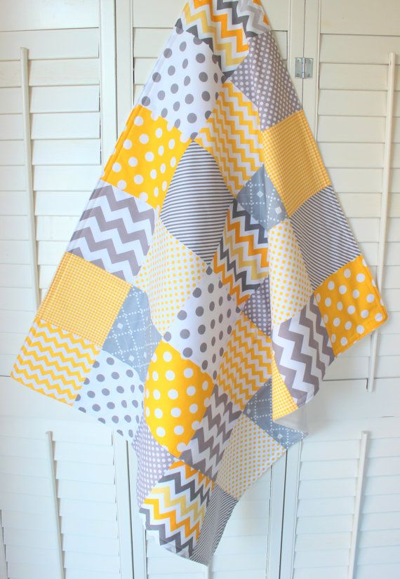 Baby Blanket, Unisex Patchwork Baby Blanket, Stroller Blanket, Crib Bedding, Gender Neutral Fleece Blanket, Yellow and Gray Chevron Dots