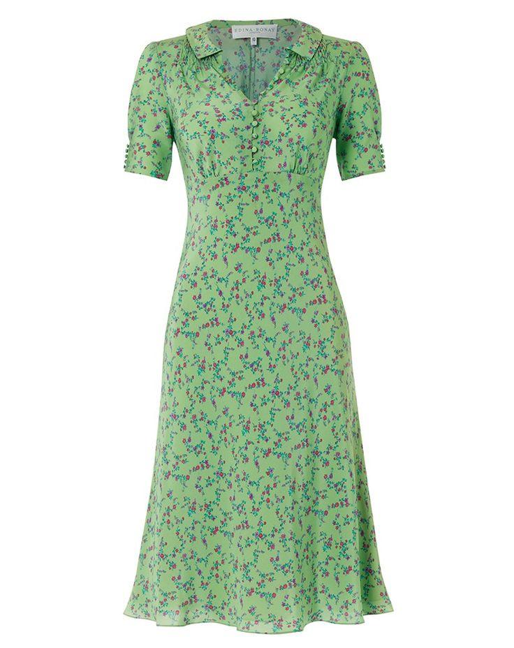 Edina Ronay Mint Floral Silk Button Dress.
